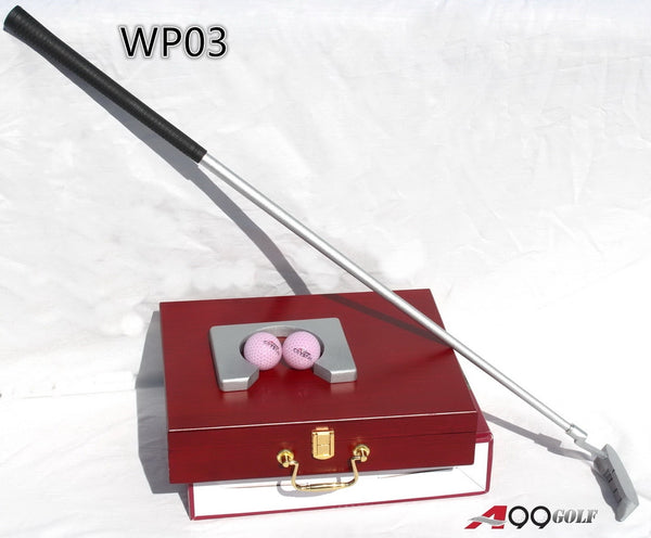 WP03 Golf Putting Set Aluminum Base with Wood Case 2balls