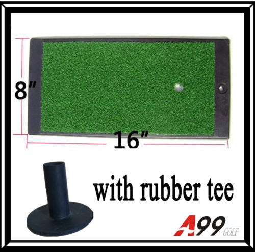 "Local Pick up Only - 168R-2 Golf Hitting Mat Heavy Duty Rubber Base Turf Mat 16"" x 8""(40.64cm X 20.32cm) w Free Rubber Tee Indoor Outdoor Use"