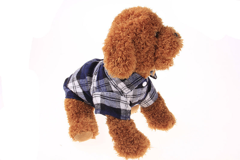 Pet Dog Puppy Plaid T Shirt Lapel Coat Cat Jacket Clothes Apparel Tops Size XS-XL