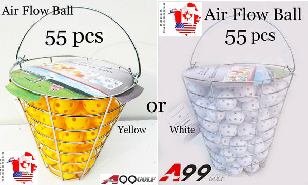 A99 Golf 55pcs Air Flow Balls with Iron Bucket (White or Yellow)