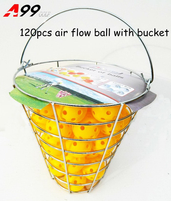 A99 Golf 120pcs Air Flow Golf Balls Practice Training Balls for Driving Range, Swing Practice, Indoor Simulators, Outdoor & Home Use with Iron Bucket (White or Yellow)