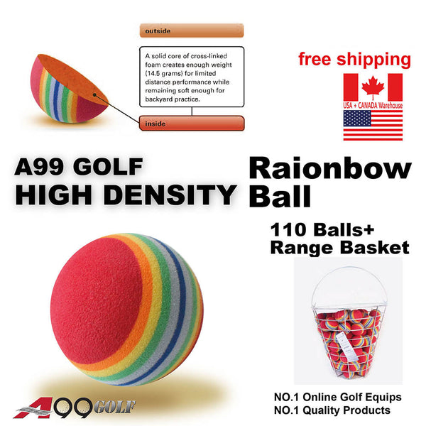 A99 Golf Rainbow  Foam Balls Pratice Ball Floating Water Pool 110pcs with Bucket