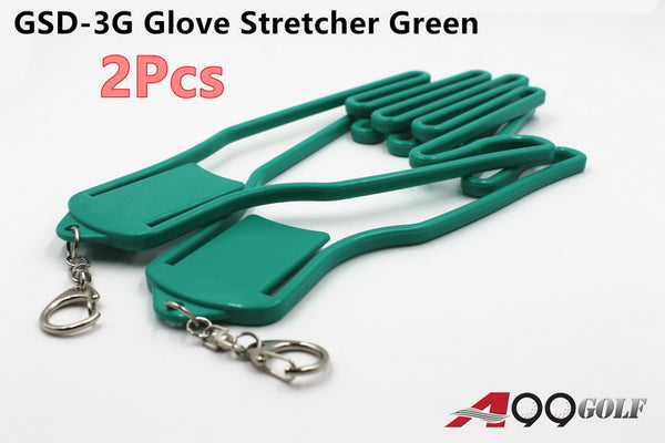 2pcs A99 Durable Outdoor Sport Golf Gloves Glove Stretcher Shaper Extend Gloves Support Frame Golf Gloves Holder Rack Dryer Shaper Tool Accessories Green w Chain