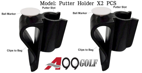 2pcs Golf Bag Clip On Putter Clamp Holder Putting Organizer Club Ball Marker