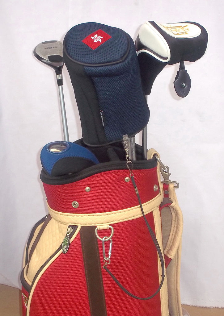 2 Sets of Stop Losing Golf Headcovers - A99 1 leash for Golf Head Cover With Bag Strap Sale as IS