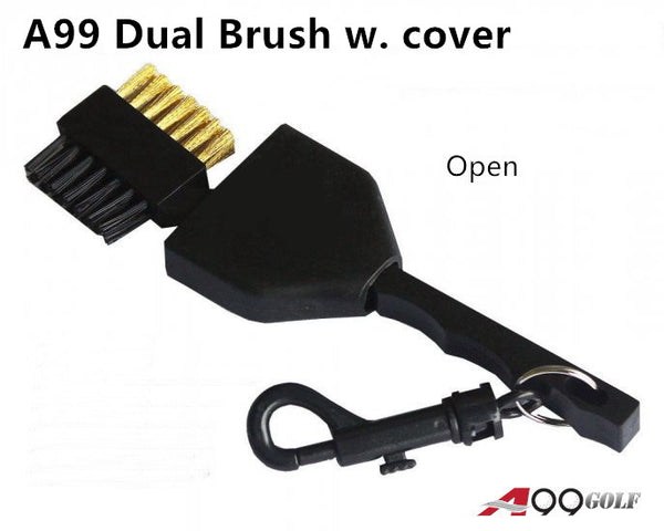 A99 Golf Dual Side Brush II with Clip Plastic and Retractable Cover