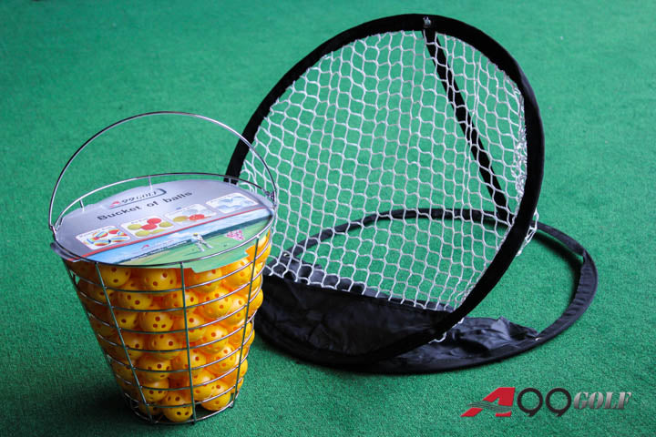 A99 Golf 120 air flow balls yellow with bucket + chipping net