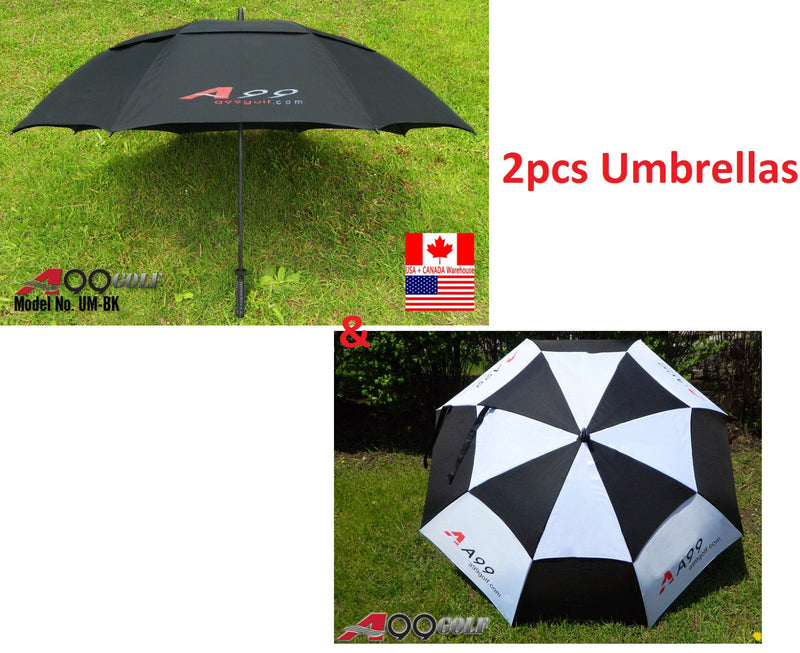 Double Canopy Golf Umbrella fiber glass frame blk+ white 2 pcs umbrella