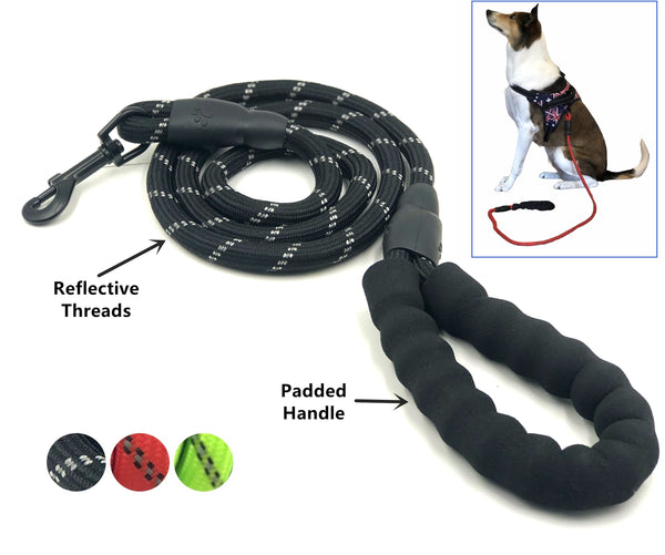 Heavy Duty Rope 4.59ft Dog Pet Leash Strap Comfortable Padded Handle Medium Large Leader for Dog Training Walking