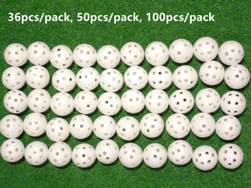 A99 Golf Pack of 36/50/100 Practice Training Balls Air Flow Golf Balls for Driving Range, Swing Practice, Indoor Simulators, Outdoor & Home Use White/Yellow