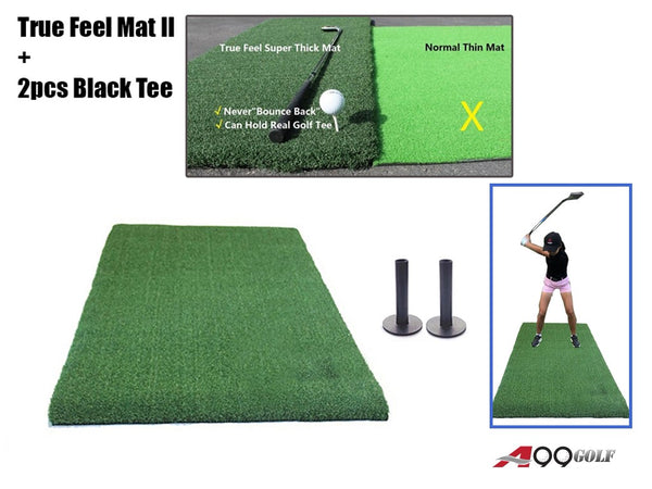 Only for Canadian Client - A99Golf True Feel Turf Synthetic Grass Driving Hitting Chipping Pitching Mat Super Thick - No Foam Pad Indoor Outdoor Home Use - Can Insert Real Tees - Come with 2pcs Rubber Tees