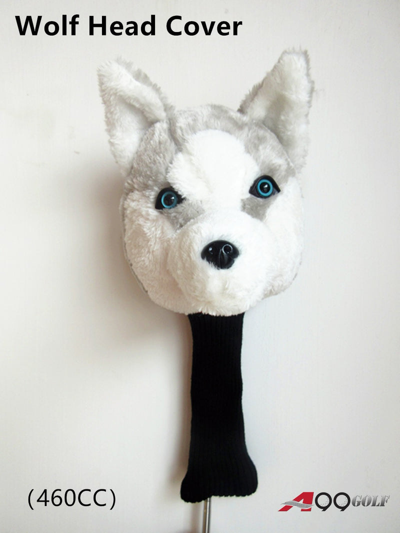 A99 Golf Cute Animal Wolf Head Cover Wood Headcover Great Gift - Fits Driver