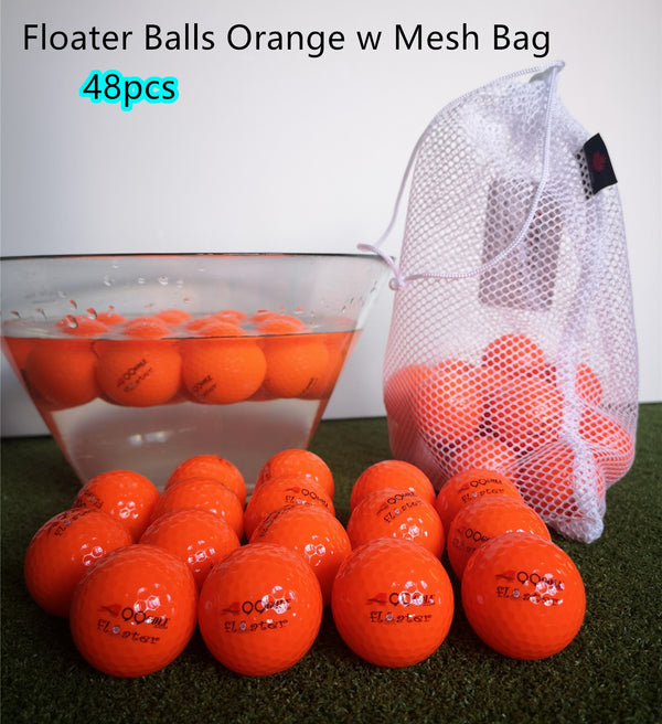 48pcs A99 Golf Floater Balls Floating Float Water Range Pool Pond Balls Water Fun Orange w Mesh Carry Bag