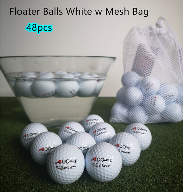 48pcs A99 Golf Floater Balls Floating Float Water Range Pool Pond Balls Water Fun White w Mesh Carry Bag
