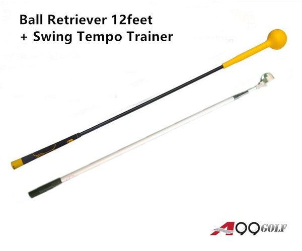 A99 Golf Telescopic Ball Retriever Pick Up Balls Picker Retractable Longest Length 12feet + True Flex Warm up Swing Tempo Trainer Training Aids