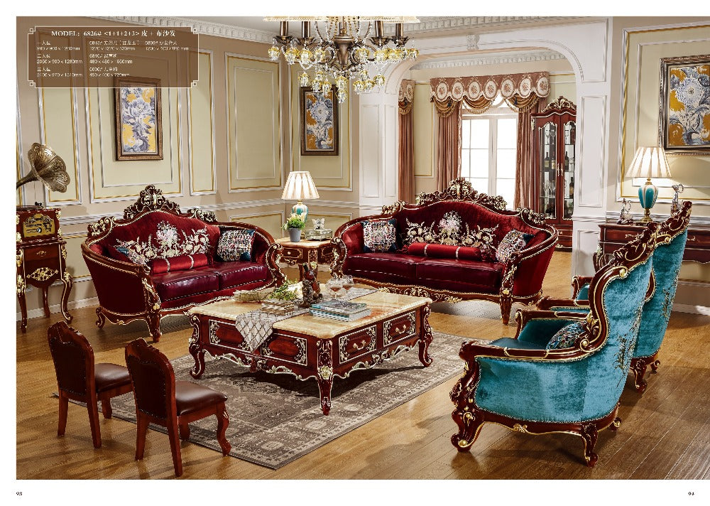 Marvelous European Style Fabric With Leather Sofa Set   Ju0026P Elegant Home Decor And  Accessories ...