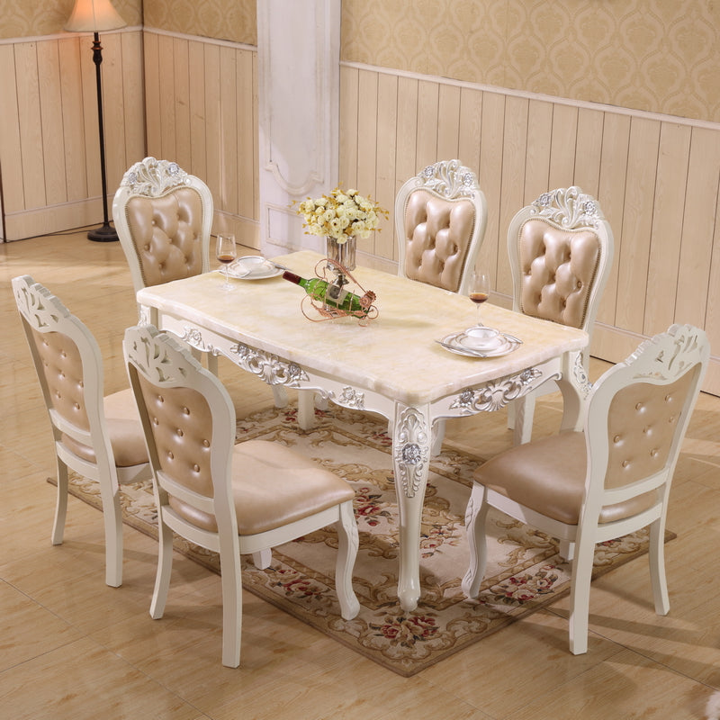 19038573c7 Natural Marble Dining Table set with 6 chairs - J&P Elegant Home Decor and  Accessories ...