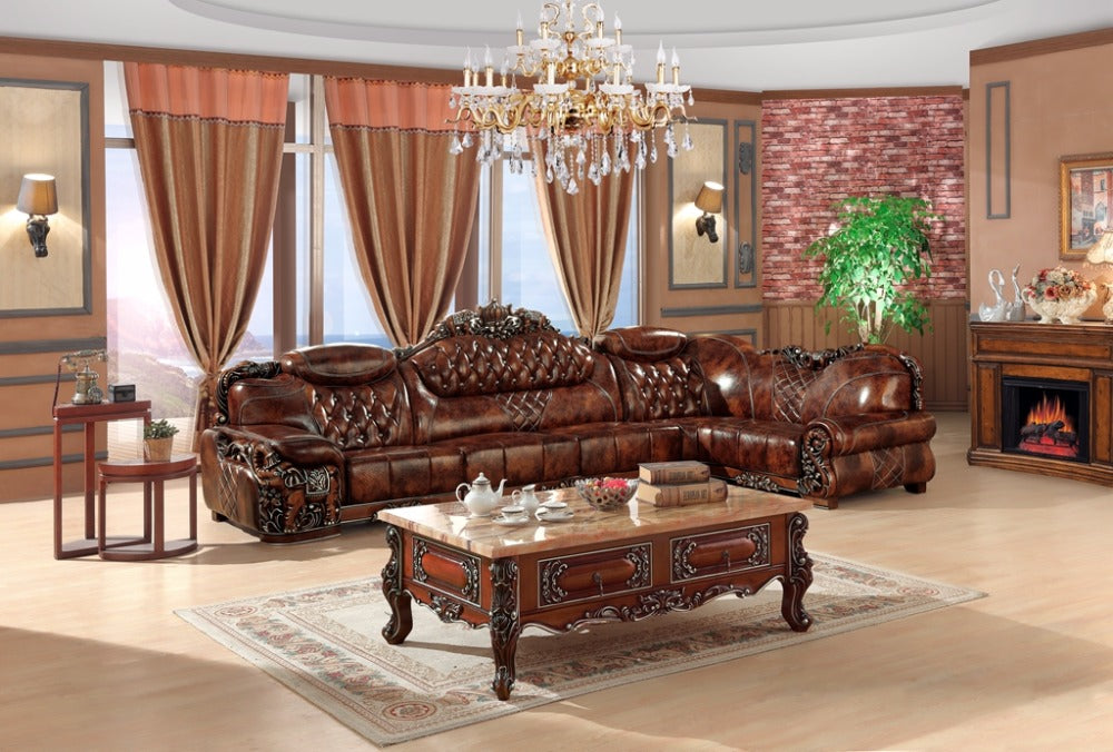 European Leather Sofa Set For Living Room   Ju0026P Elegant Home Decor And  Accessories ...