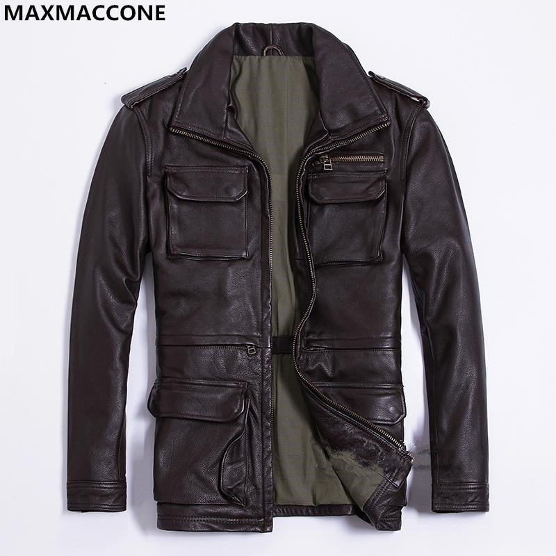 fba5be99e 2018 Brow Men Long M65 Leather Jacket Plus Size XXXL Genuine Thick Cowhide  Winter Russian Safari Leather Coat FREE SHIPPING