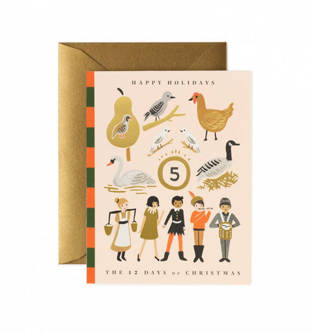 12 Days of Christmas Card by Rifle Paper Co. - Box Set of 8