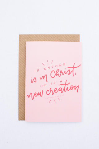 Baptism Card (pink & cherry)