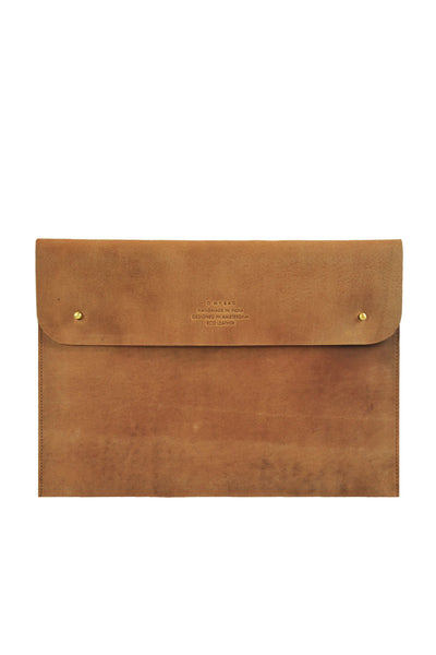 front of eco-friendly brown leather laptop bag