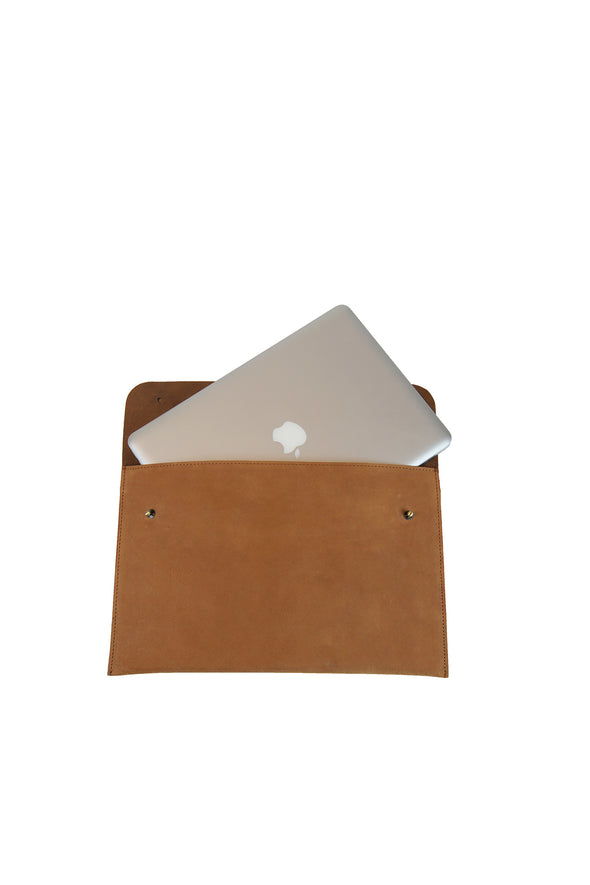 inside view of eco-friendly brown leather laptop bag