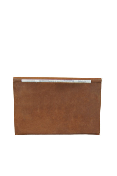 back pocket view of eco-friendly brown leather laptop bag