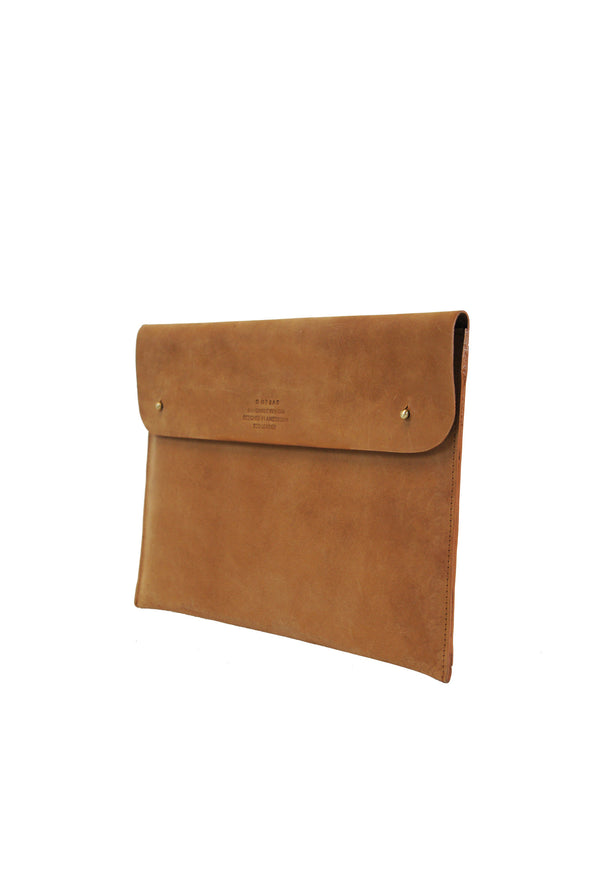 side view of eco-friendly brown leather laptop bag