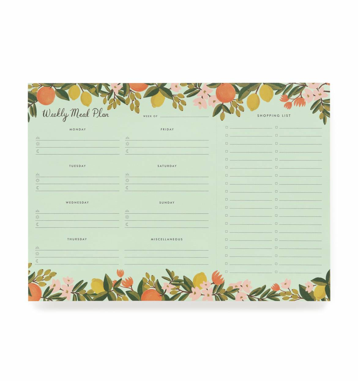 Citrus Floral Meal Planner with Perforated Shopping List by Rifle Paper Co.