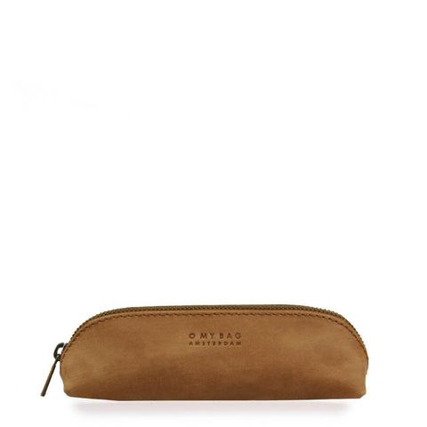 front of brown leather pencil case