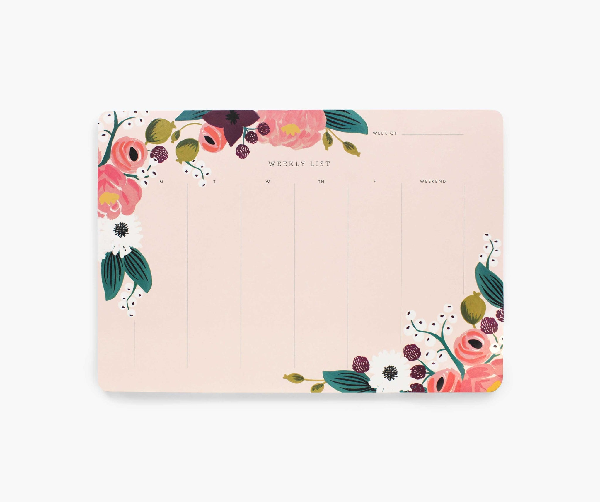 Pink Floral Weekly Desk Pad by Rifle Paper Co.