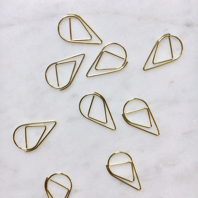 Gold Raindrop Paper Clips