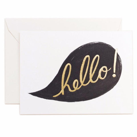 hello! Gold Foil Card by Rifle Paper Co