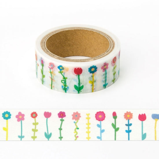 AIUEO Masking Tape Flower Colorful