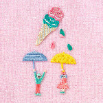 AIUEO Applique Couple Umbrella
