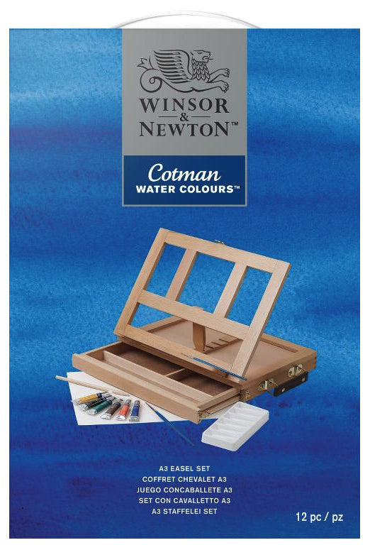 W&N Cotman Watercolors A3 Easel Drawer Set/12 pc/pz