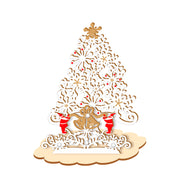 XMAS WOOD STAND CARD WHITE TREE
