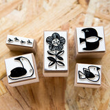 Ours Flower & Birds Rubber Stamp Set/4pcs
