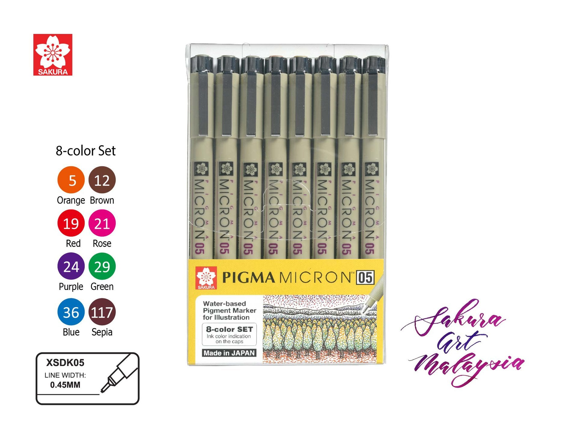 Sakura Pigma Micron / 8 Color Set