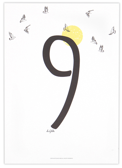 Number Poster Card A4 size