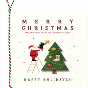 WOOD CARD SANTA TREE XC-94159