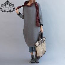 Plus Size Knitted Women's Autumn Dress Casual Cotton
