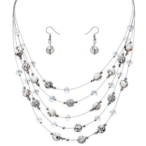 CostumeJewelry sets Rhinestone Crystal Silver Color Chain Multilayer Chokers Necklaces Earrings