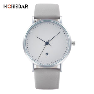 High Quality Quartz  Auto Calendar Leather Watches Waterproof