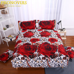 gorgeous 3d rose print queen size romantic bedding set  duvet cover bed sheet pillow cases 4pcs kit