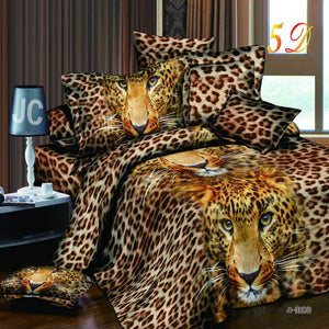 New 3D print  Wolf Leopard Tiger Lion Panda Flower Bedding sets duvet cover bed set pillowcase Queen size 4pcs