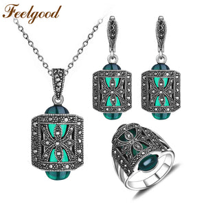 Vintge Antique Silver Color Jewelry Set Green Resin And Rhinestone