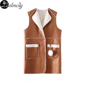 Women Winter Clothes European Plus Size Lambswool Pocket Vest
