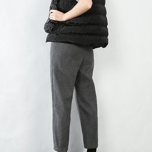Autumn And Winter Wool Wide Leg Ankle-length Pants High Quality Casual Straight  Plus Size